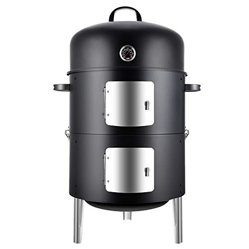 Realcook Vertical 17 Inch Steel Charcoal Smoker,...
