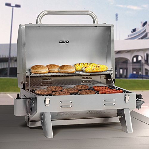 Compare the Fuego F24C Professional Propane Gas Grill to a Smoke Hollow 205 Stainless Steel Tabletop Propane Gas Grill
