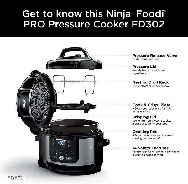 Key Features of the Ninja Foodi FD302 Pressure Cooker plus Air Fryer