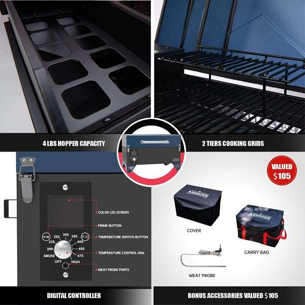 What is the Key Features Of ASMOKE AS300 Tabletop Grill
