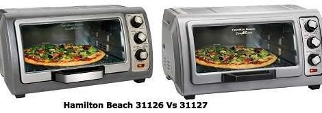 """Hamilton Beach 31126 and 31127, two countertop ovens of Hamilton, were released back to back without many differences. People got confused while choosing them. So, here I'm with this Hamilton Beach 31126 vs 31127 review. Hamilton Beach 31126 and 31127 have almost no difference (except one or two). Even their price is in the same range. Anyways, if you don't know, they are two excellent compact countertop ovens. They come with versatile features and do a great job as a substitute for a full-size oven. I like the older model - Hamilton Beach 31126 as it offers something extra despite being at the same price point. So, with no delay, let's start with - Why Should You Buy Hamilton Beach 31126? Hamilton Beach 31126 comes with conviction technology, which reduces the cooking time by 30% at max. But, the Hamilton 31127 doesn't have this technology. The roll-over top door of 31126 simplified the access for the food inside the oven. That means you can easily put in or out foods in the oven. Thanks to that, food doesn't split on the door, and the machine is relatively easy to clean. It is pretty spacious, easily contains 6 slices of bread and 12 inches of pizza. You get four types of functions with this machine - bake, broil, toast, and convenience for faster air circulation throughout the oven. [mks_button size=""""large"""" title=""""Check Price"""" style=""""rounded"""" url=""""https://www.amazon.com/dp/B07PGR2Z5N"""" target=""""_blank"""" bg_color=""""#ff5722"""" txt_color=""""#FFFFFF"""" icon="""""""" icon_type="""""""" nofollow=""""1""""] All of these functions are also available within Hamilton beach 31127 except the conviction. It's a handy feature to cook faster. Anyways, they both come at the same price ( maybe one or two dollars difference). You can even grab them for under a hundred dollars on sale. Hamilton Beach 31126 Vs 31127 - Specs Feature Hamilton 31126 Hamilton 31127 Dimensions 10.76 x 16.75 x 19.76 15.24 x 18.74 x 9.41 Weight 5.9 lbs 11.4 lbs Cooking Functions 4 3 Temperature (Max) 450ºF 450ºF Capacity 9"""" x 11"""" bak"""